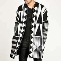 Mens Black White Patchwork Mid Long Cardigans