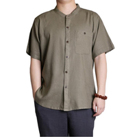 Mens Solid Color Casual O Neck Single Breasted Pocket Shirts