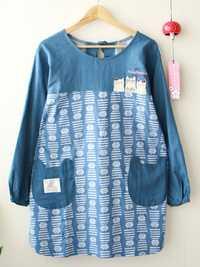 Japanese Cat Print Crew Neck Apron Vintage Dress