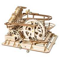 3D Self-Assembly Wooden Marble Run Handcrank Waterwheel Magic Crush Puzzle Building Kits Mechanical Model Gift