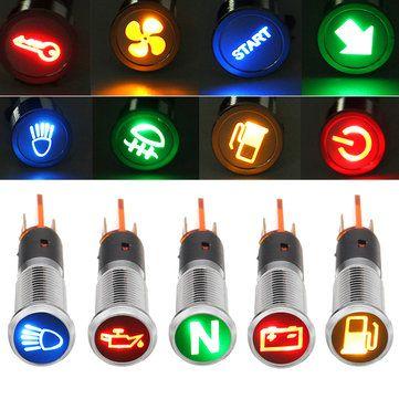 12V 24V 36V Metal 8mm LED Dash Panel Warning Light Bulb Indicator Lamp Car Boat Van