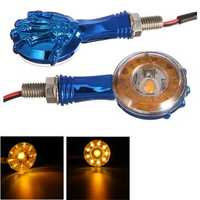 Pair Motorcycle LED Turn Signal Indicator Lights Amber 3D Skull Skeleton Lamps For Harley Custom