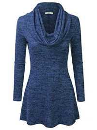 Plus Size Cowl Neck Long Sleeve Pure Color Blouse Tops