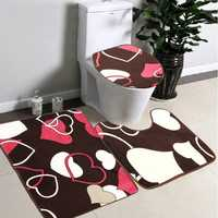 3Pcs Set Non Slip Soft Heart Bathroom Pedestal Rug Lid Toilet Cover Bath Mat
