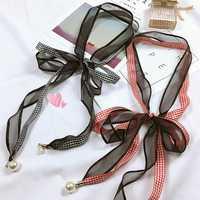 Women Girls Polyester Skinny Scarf Double Layered Vintage Plaid Scarf Fashion Narrow Scarves