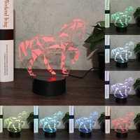 Horse Animal 3D Night Light Colorful LED USB Lamp Touch Kids Gift LED USB Lamp