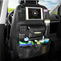 Multi-functional PU Leather Car Seat Back Storage Bag Organizer Bottle Holder with USB Charging Port