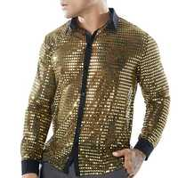 Mens Scales Glitter Sequins Nightclub Dance Costumes Shirts