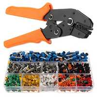 Electrical Ratchet Crimping Pliers Tool with 800 Wire Stripper Crimper Terminal Kit