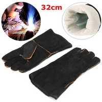 Heaty Duty Wood Burner Welding Heat Resistant Leather Gloves Stoves Fire Black
