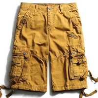 Mens Loose Cotton Cargo Shorts Casual Big Pocket Pants Pure Color Beach Trousers