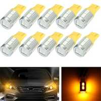 10Pcs Yellow 2.3W 20Lm 0.17A T10 5730 LED Side Indicator Lamp Light