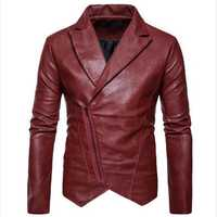 Fashion Oblique Zipper Irregular Hem Slim PU Leather Jacket