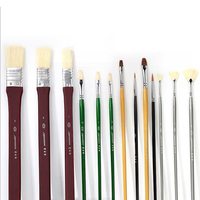 Brush Mix Set Professional Proportion Wolf Chrome Plated Wood Rod Watercolor Paint Brush Set