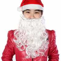 Santa Claus Father Christmas White Beard Moustache Xmas Mens Fancy Dress Costume