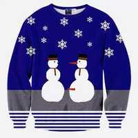 Mens Christmas Snowman 3D Printing Sweatshirt Festive Personality Funny Sweatshirt