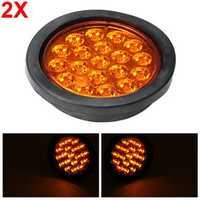 2pcs 12V/24V Amber LED Truck Brake Light Trailer Tail Lamp Reverse Signal Indicator Universal