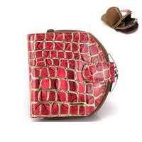 Genuine Leather Stone Pattern Leopard Short Wallet