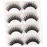 5Pairs Black False Eyelashes Lash Extension Soft Long Makeup