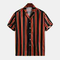 Mens Contrast Color Stripe Printed Summer Holiday Shirts
