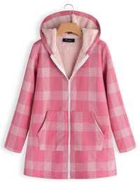Casual Women Plaid Print Pockets Zipper Hooded Coats