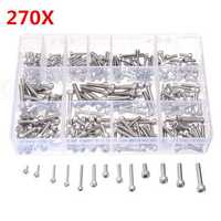 Suleve™ M3SSH2 M3/M4/M5 A2 Stainless Steel Hex Allen Socket Cap Screws Bolts Assorted Kit 270Pcs