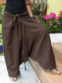 Women Vintage Solid Color Cotton Loose Casual Wide Leg Pants