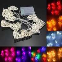 10 LED Rattan Heart String Fairy Lights Lamp Party Home Bedroom Xmas Wedding Decor
