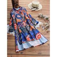 Women Random Art Print Button High Low Hem Dress