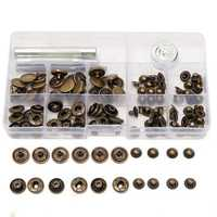 30Set 15mm Antique Brass Snap Fasteners Popper Press Stud Button Leather Tool Kit