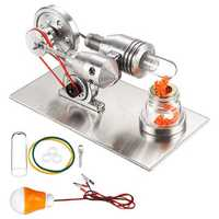 STEM Stainless Mini Hot Air Stirling Engine Motor Model Educational Toy Kit