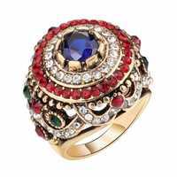 Bohemian Gold Plated Rings Opal Blue Resin Crystal Rings