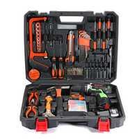 AOTUO 102Pcs 12V Li-Ion Cordless Power Drills Kit Electric Screwdriver Single/Double Speed 2 Battery
