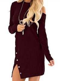 Women Sexy Cut Shoulder Buttons Solid Knitting Mini Dress