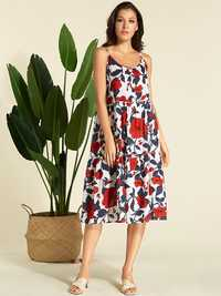 Women Bohemian Floral Print Straps Long Dress