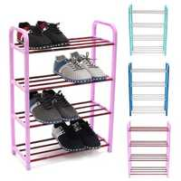 4 Tiers Shoes Display Storage Organizer Stainless Steel DIY Cabinet Towel Rack Stand Shelf Holder Unit Shelves