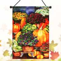 28''x40'' Pumpkin & Mums Fall Garden Flag Seasonal Yard Banner Autumn Decorations