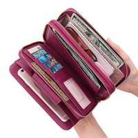 Women Faux Leather Multifunctional Multi-Slots Long Wallet
