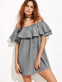 Women Off Shoulder Ruffles Stripe Mini Dress