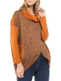 Women Casual Turtle Neck Irregular Hem Long Sleeve Tops