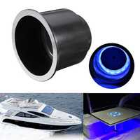 8 LED 12V Blue Light Plastic Drink Bottle Cup Holder w/ Harness Car Boat Truck