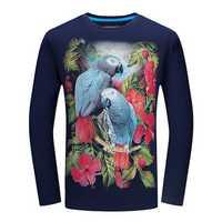 Mens Plus Size Bird Flower 3D Aminal Printing Tees Fashion Casual Long Sleeve Cotton T-shirt