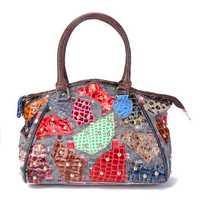 Women Genuine Leather Stitching Patchwork Vintage Handbag