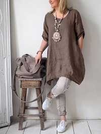 Women Pure Color Cotton Linen Half Sleeve Shirt Dress