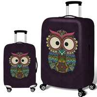 Honana Owl Elastic Luggage Cover Trolley Case Cover Durable Suitcase Protector for 18-32 Inch Case Warm Travel Accessories