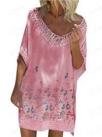 Women O-neck Bat-wing Sleeve Printed Hollow Hem Dress