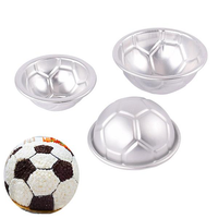 6pcs Set Aluminum Metal Sphere Football Bath Bomb Molds 3 Size DIY Cake Crafts