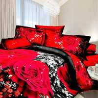 3D Rose Flower Queen Size Bedding 2 Pillowcase Quilt Duvet Bedding Sets Sheet Cover