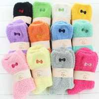 1 Pair Women Ladies Fuzzy Coral Fleece Bowknot Embroidery Candy Color Socks Hosiery