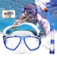2Pcs/set Tempered Glass Snorkel Goggles Mask Breathing Tube Scuba Swimming Diving Snorkelling Accessories